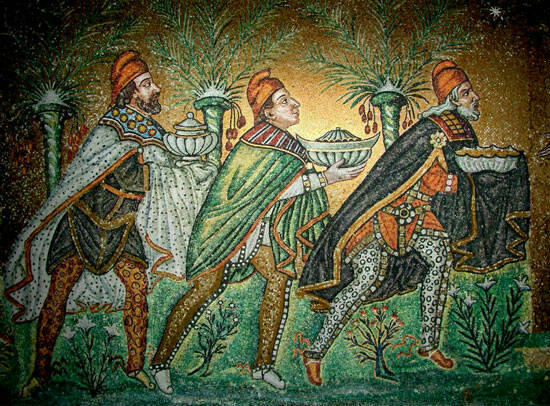 Mosaic of the Three Wise Men, Church of San Vitale, Ravenna, 1st Century AD