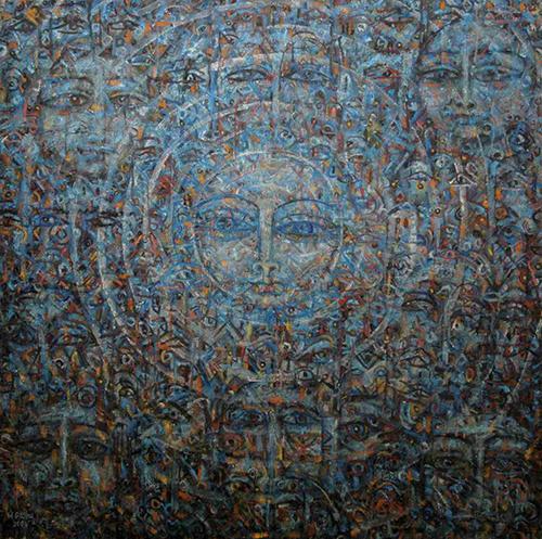 Worku Goshu: Birth of Light, oil on canvas