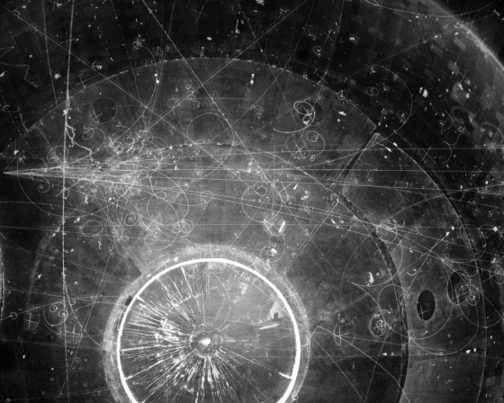 Particle tracks on film from the Fermilab Bubble Chamber