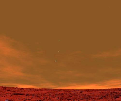 Earth, Jupiter and Venus seen from Mars